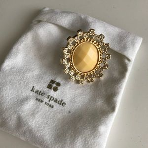 KATE SPADE Oversized Cream Gem Ring Crystals 7